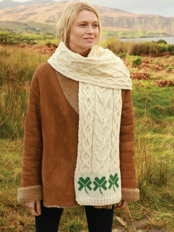 e3746f8f218 Shamrock Detailed Aran Scarf - Aran Islands Knitwear