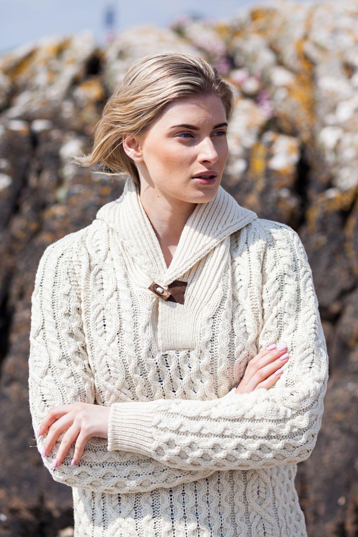 e2a27a5d4f Shawl Neck Aran Sweater with Toggle - Aran Islands Knitwear