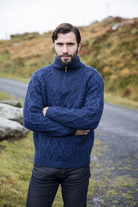 Knitting Pattern Half Zip Sweater : Mens Half Zip Sweater Pattern - Bronze Cardigan