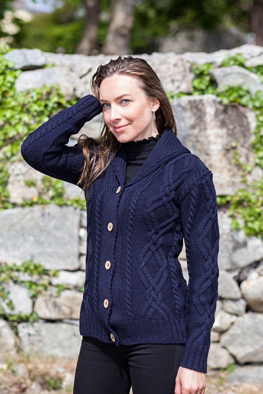 'Galway Shawl' Diamond Knit Ladies Cardigan - Aran Islands ...