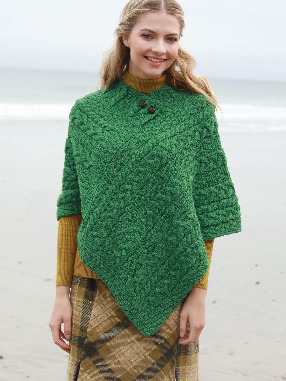 Cable Knit Aran Poncho Aran Islands Knitwear