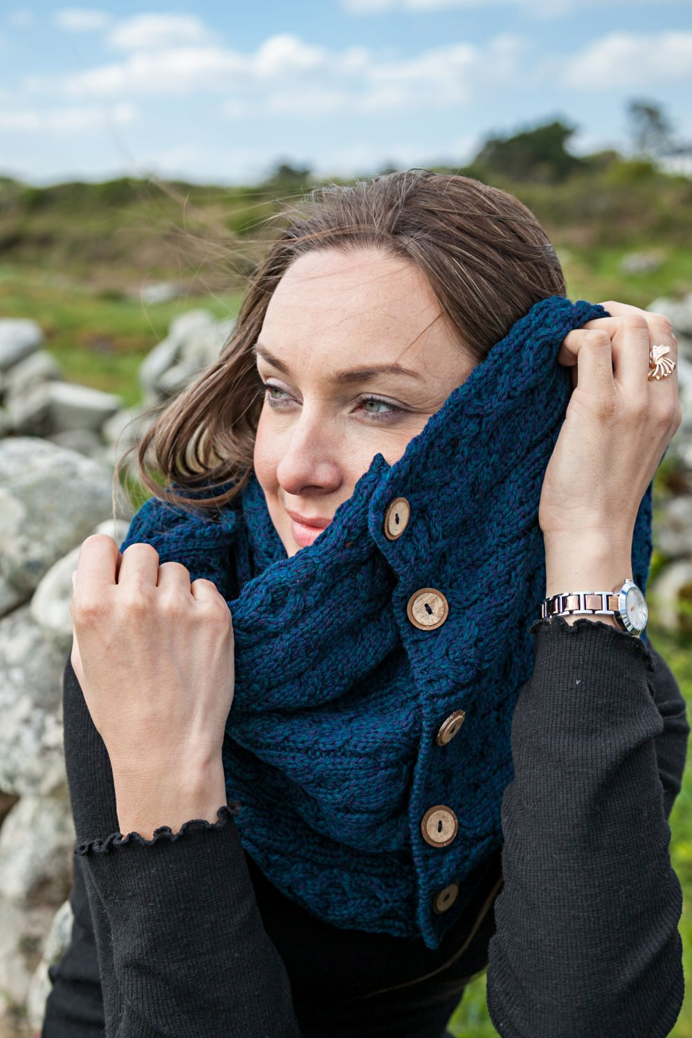 Merino Cable Knit Snood with Buttons - Aran Islands Knitwear