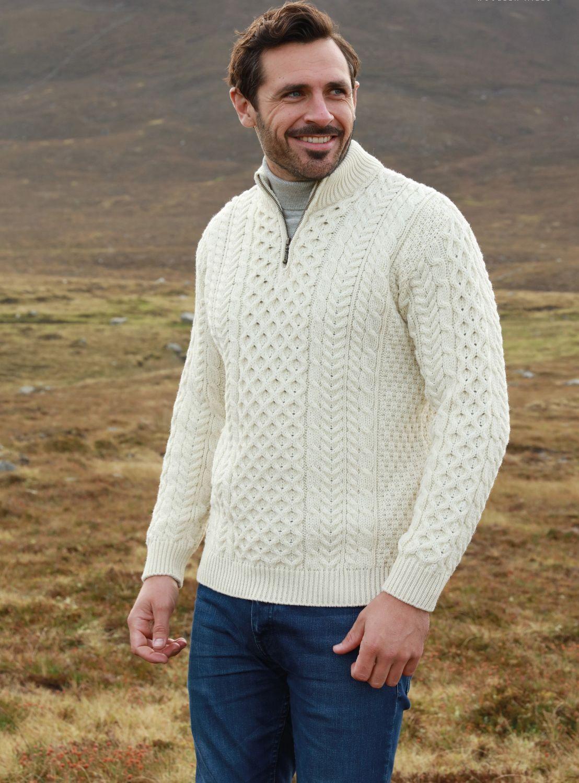 Aran Sweater With Zip And High Collar Aran Islands Knitwear