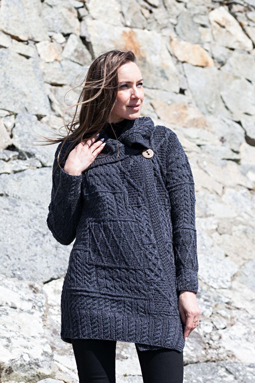 Long Cardigan with Intricate Patterns - Aran Islands Knitwear