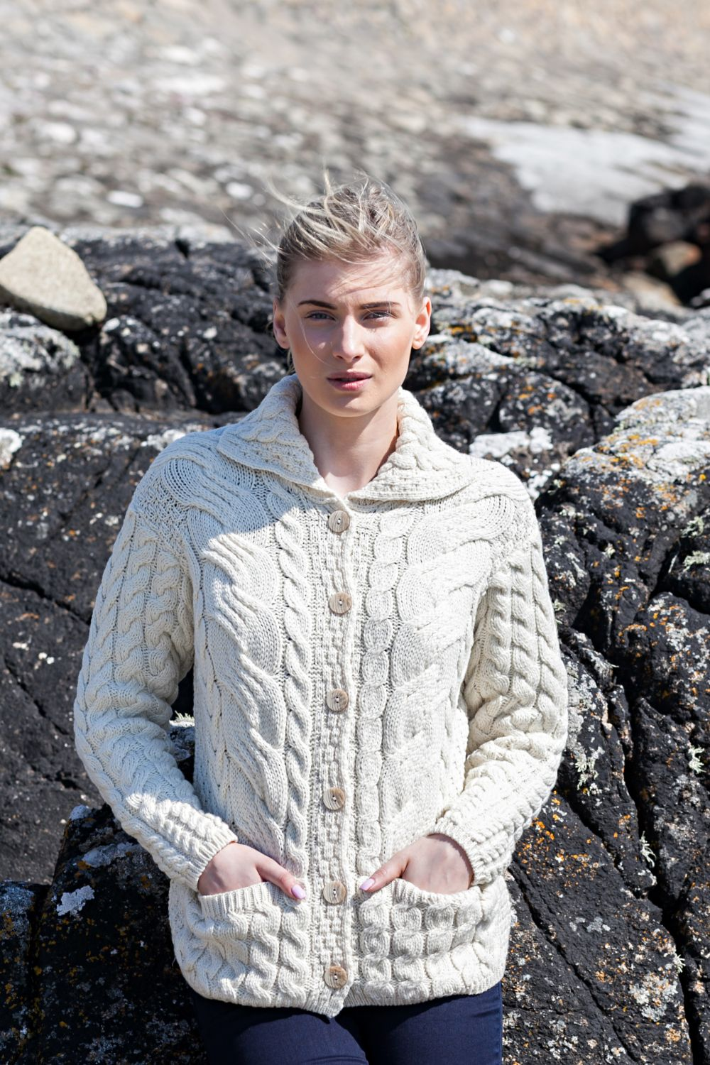 Supersoft Cable Knit Cardigan with Collar and Pockets - Aran Islands ...