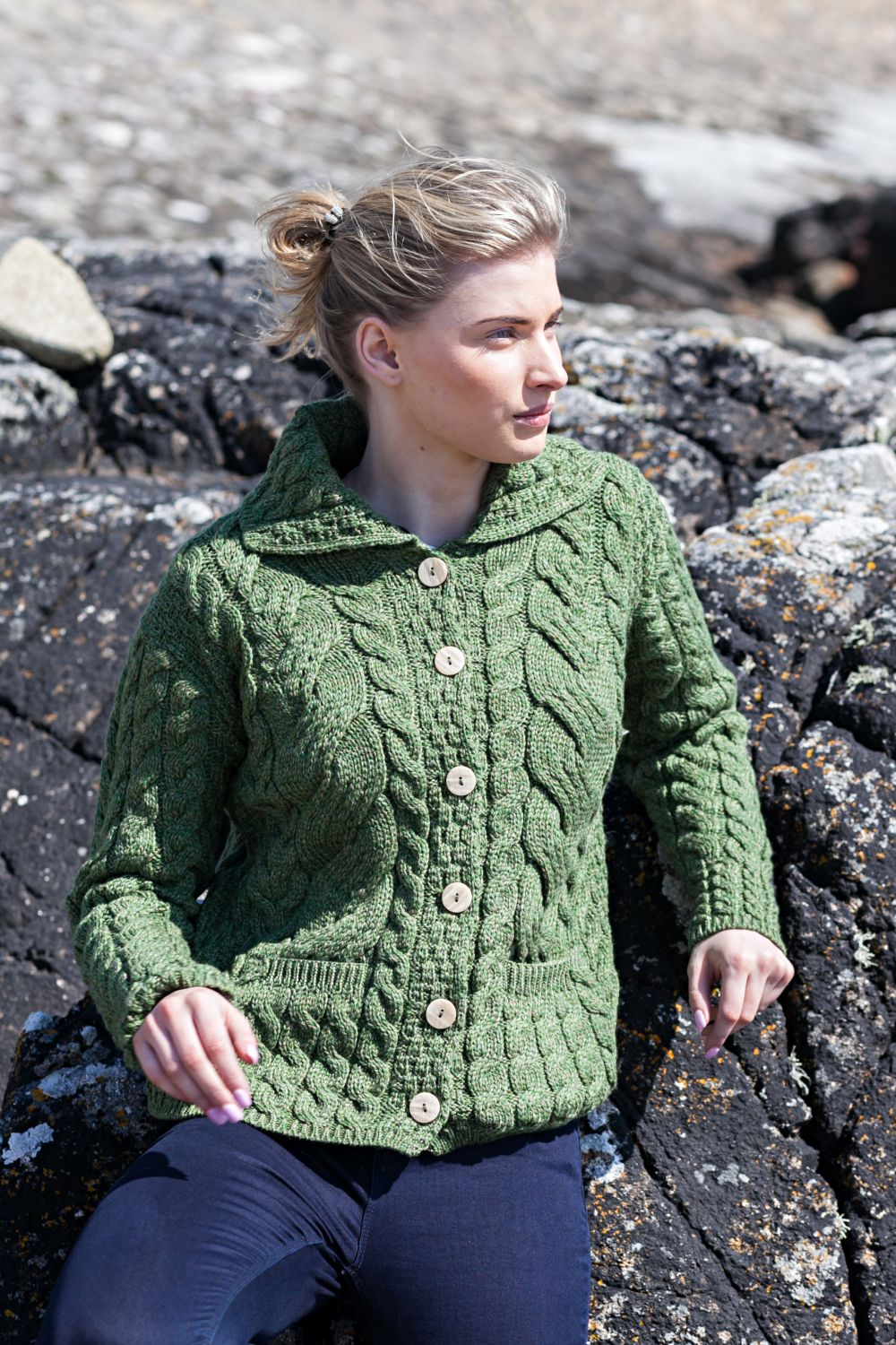 Supersoft Cable Knit Cardigan with Collar and Pockets - Aran Islands ... 6774a1788