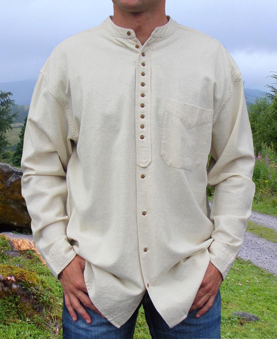 Black Traditional Irish Civilian Grandfather Shirt High Quality ew13
