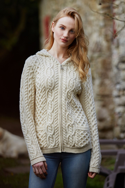 Celtic Cardigan with Hood and Full Zip - Aran Islands Knitwear