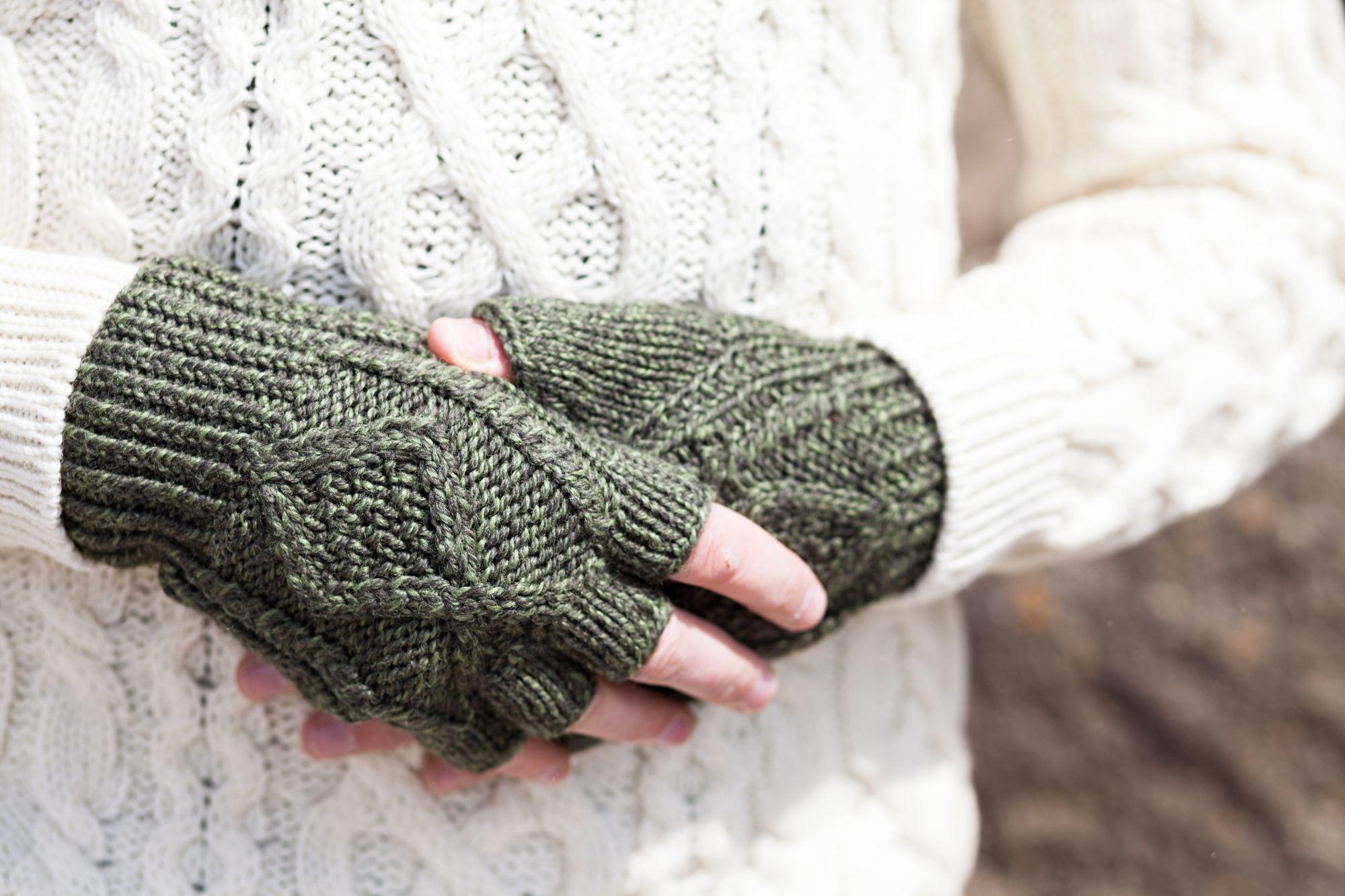 Hand Knit Fingerless Gloves - Aran Islands Knitwear