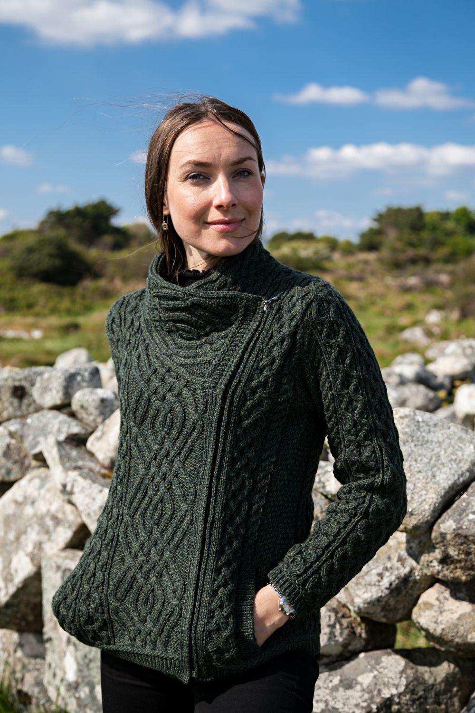 Celtic Cardigan with Side Zip - Aran Islands Knitwear