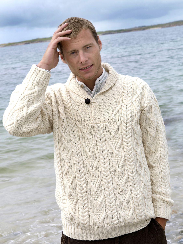 Intricately Patterned Shawl Neck Aran Sweater Aran Islands Knitwear