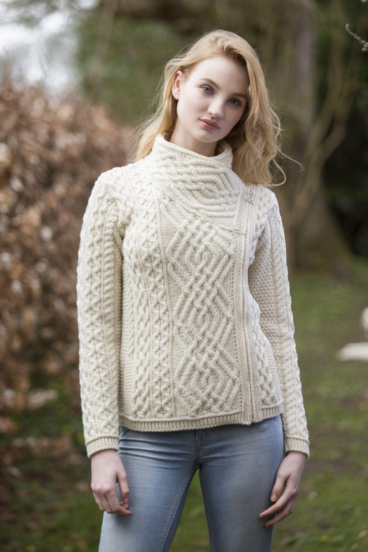 6247acc97bb4 Celtic Cardigan with Side Zip - Aran Islands Knitwear